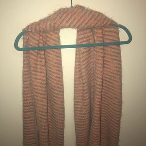 Pale Pink Fuzzy Striped Scarf